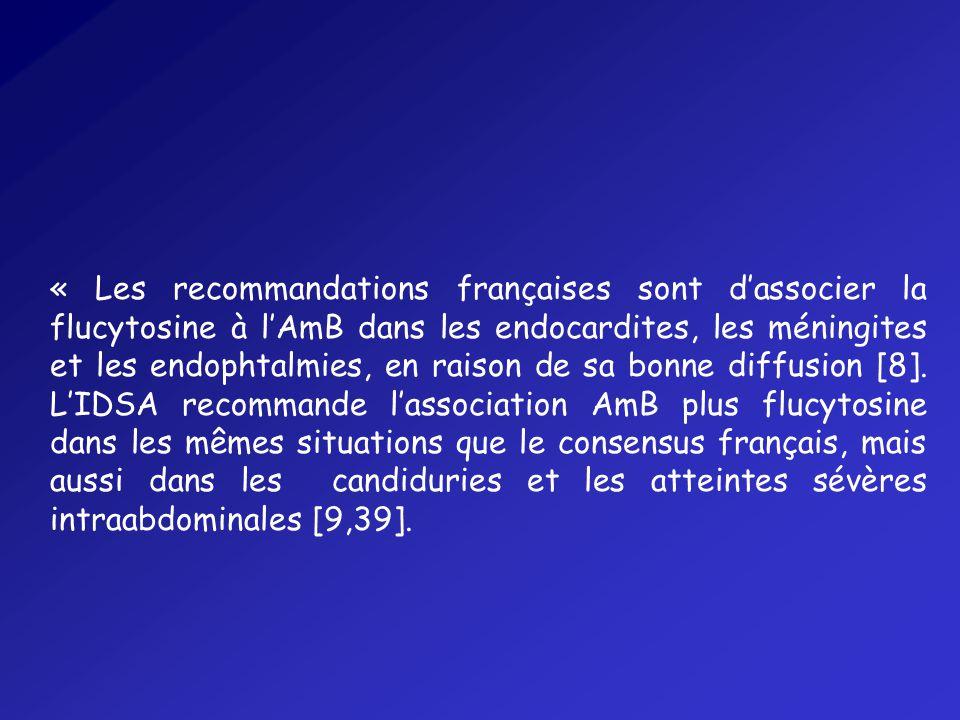 « Les recommandations françaises sont d'associer la flucytosine à l'AmB dans les endocardites, les méningites et les endophtalmies, en raison de sa bonne diffusion [8].